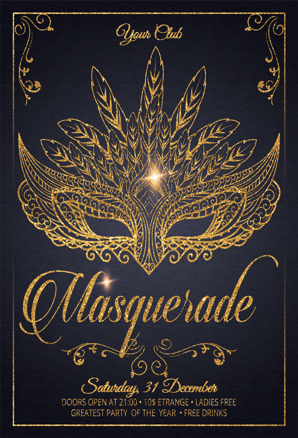 Masquerade Carnival Party Flyer example image 2