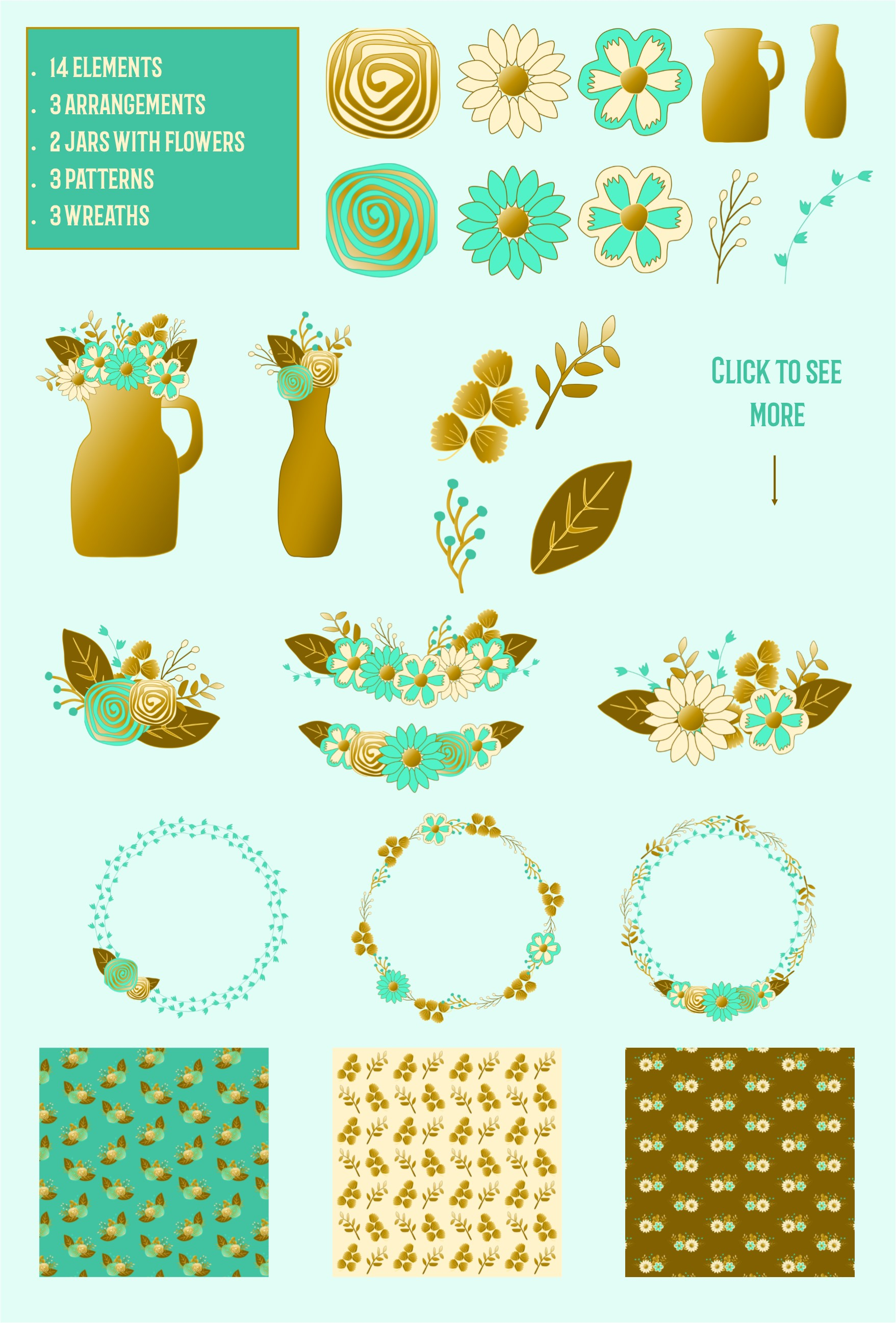 Gold and mint  floral collection. Clip art and patterns. example image 2