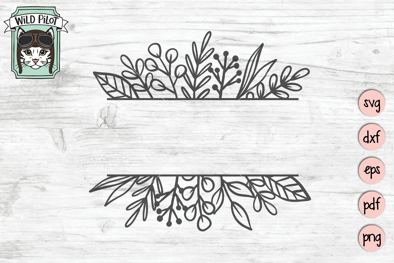 Leaf Monogram Frames, Circle, Square, Split Frame SVG files example image 4