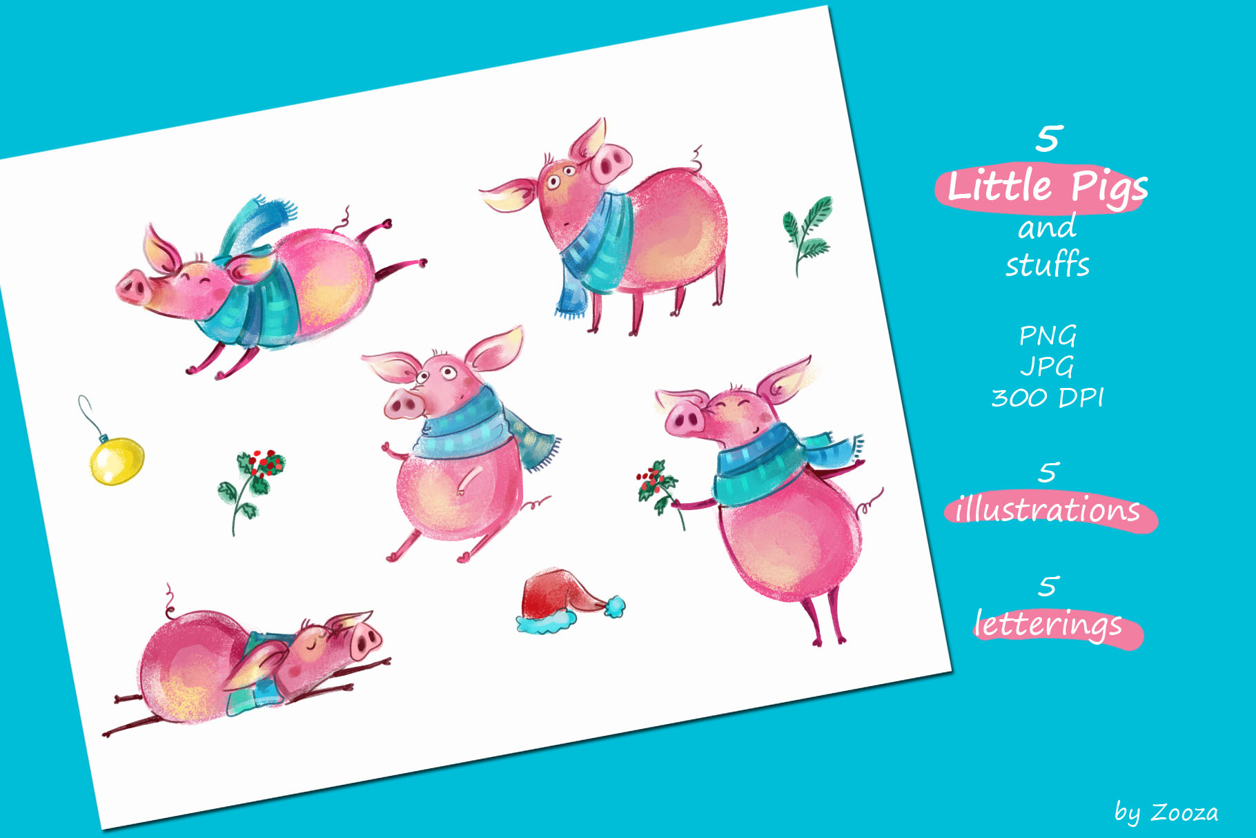 Piggy New Year - illustrations example image 7