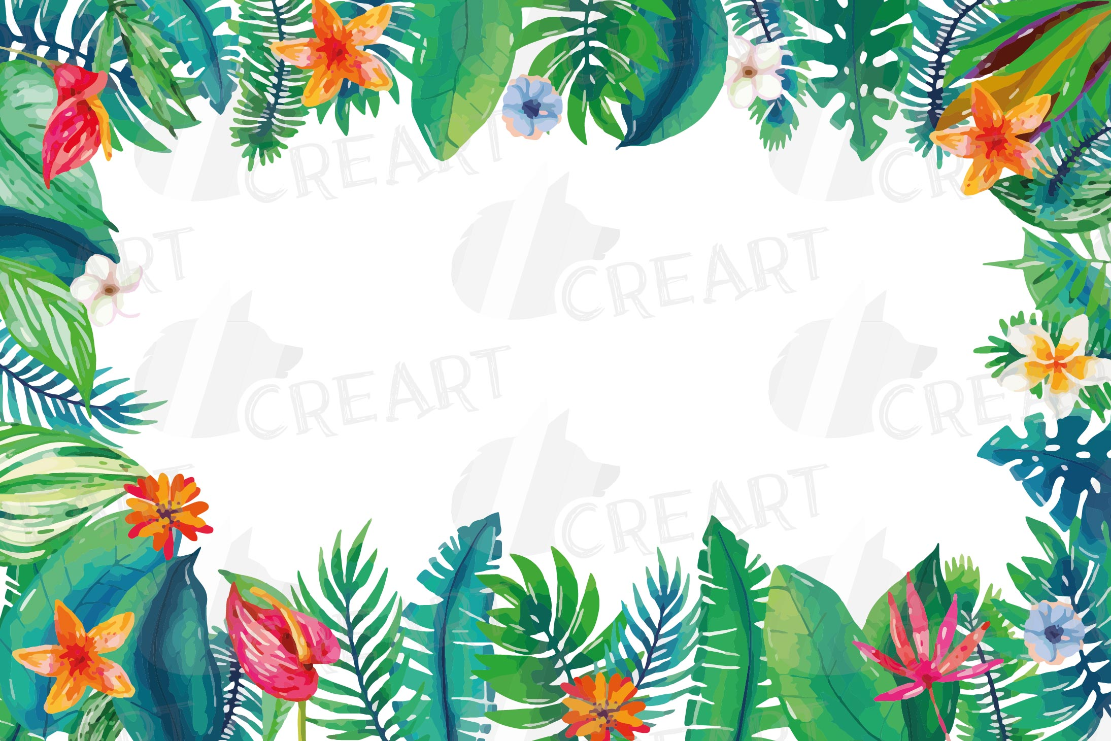 Tropical navy blue and green leaves and exotic flowers example image 5