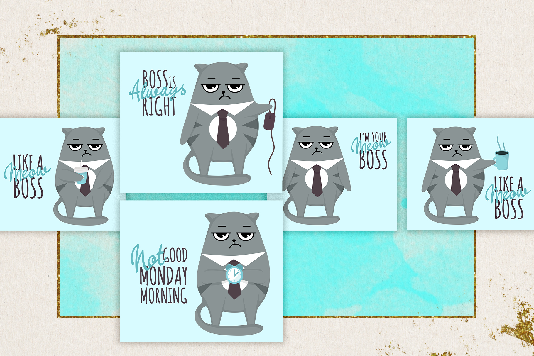 Grumpy cats vector collection example image 6