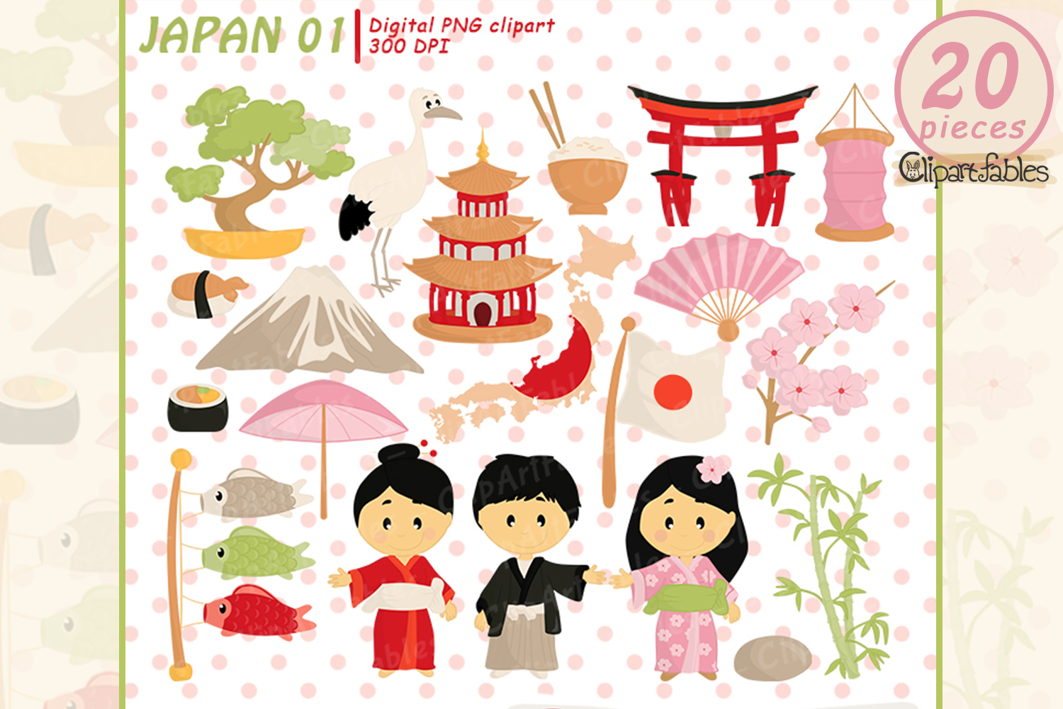 Japan Tradition clipart, japanese clip art, cute travel art example image 1