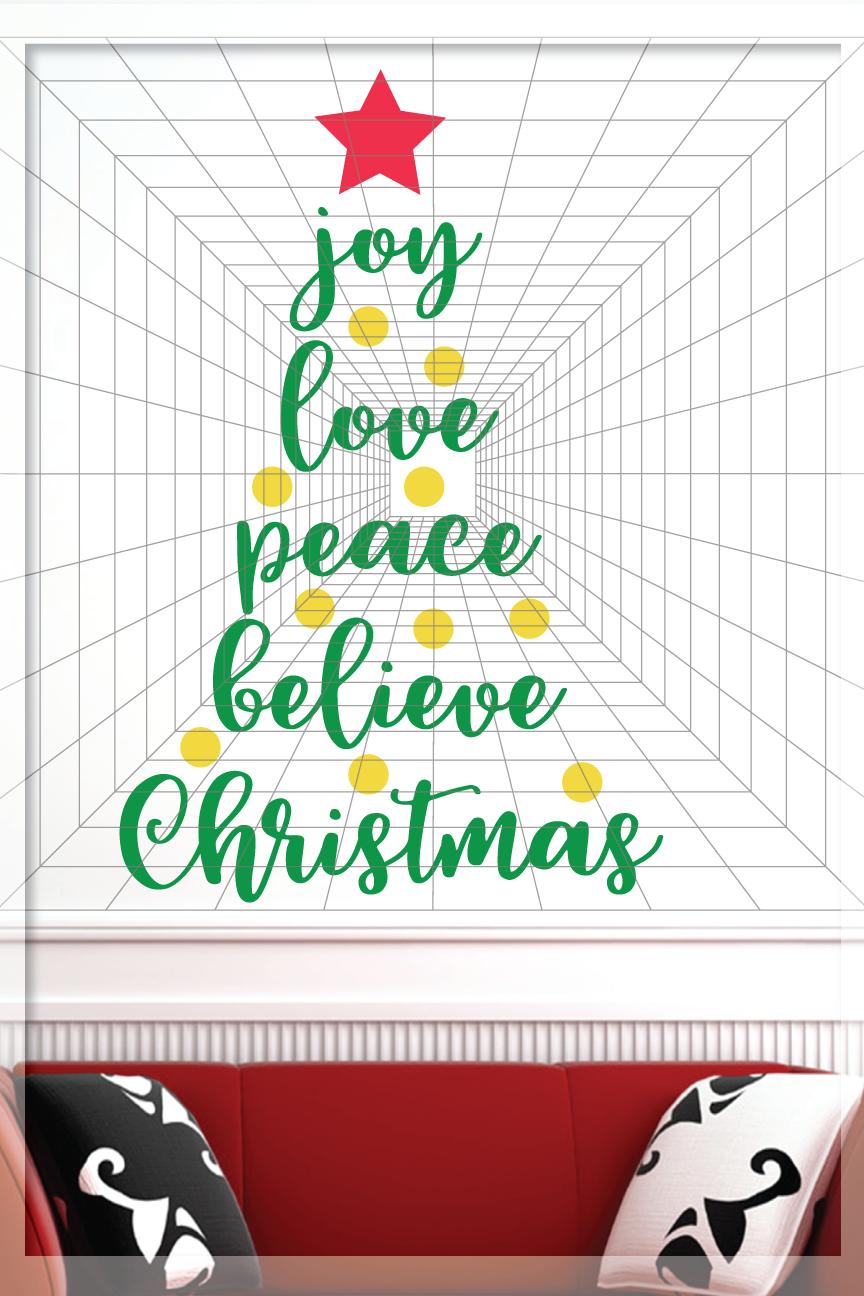 Joy Love Peace Believe Christmas SVG - Xmas tree Svg example image 3