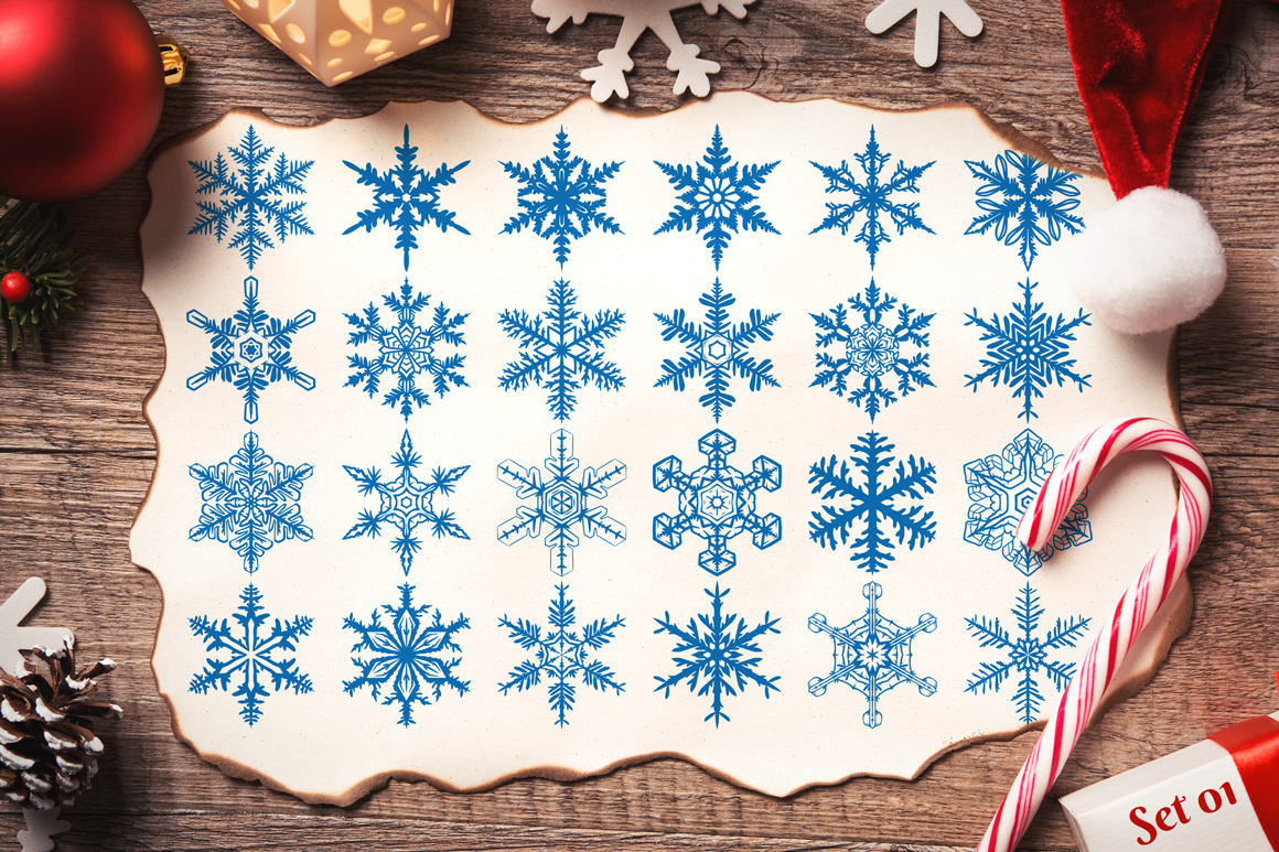 500 Snowflake Vector Ornaments example image 4
