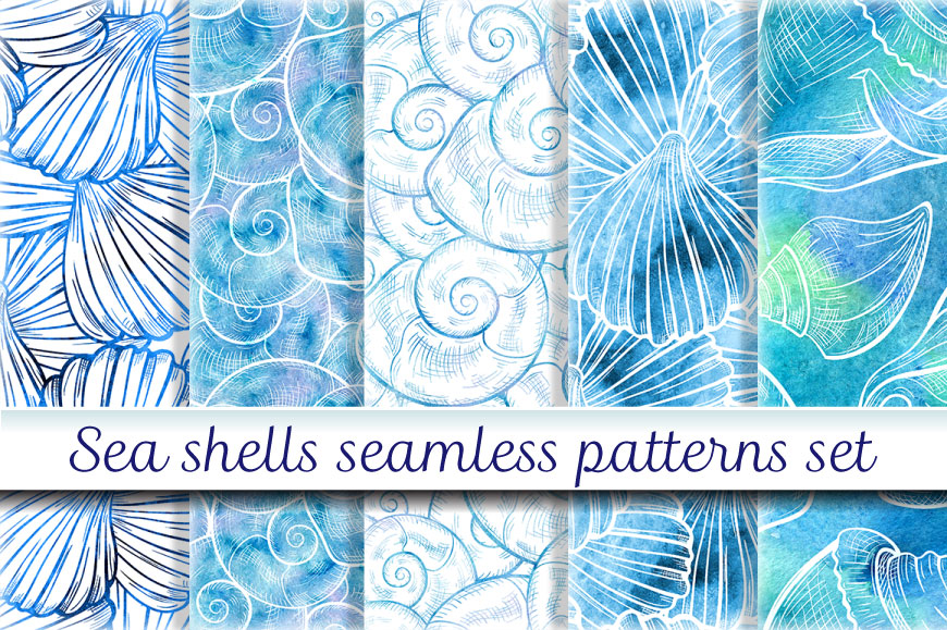 Sea shells seamless patterns set example image 1