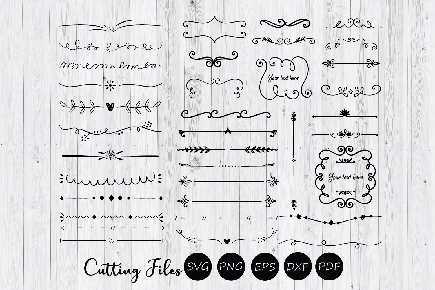 36 Hand drawn floral ornaments and text dividers example image 1