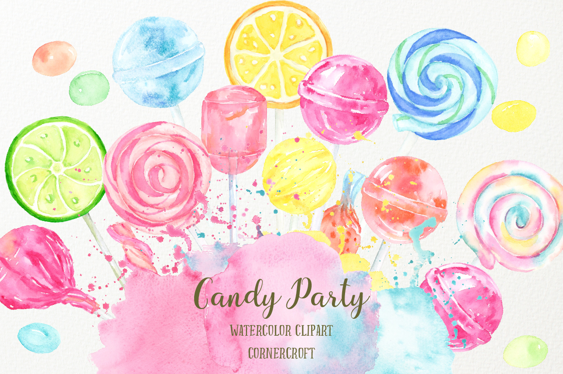 Watercolor Candy Party Clip Art  example image 1