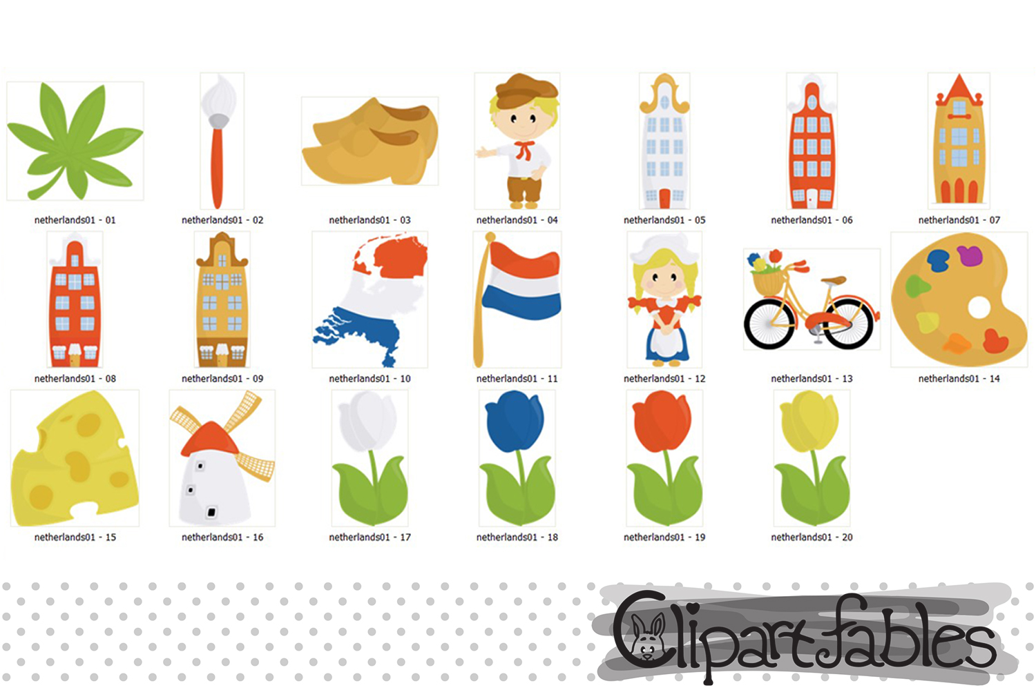 NETHERLANDS clip art, European travel party, cute Dutch art example image 2