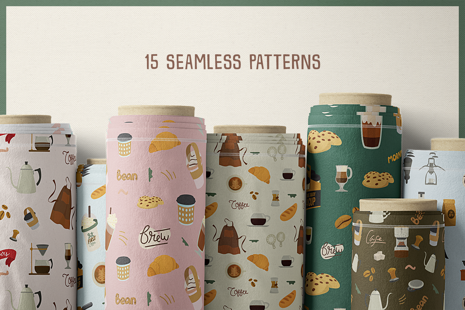 75 Coffee and Tea Vector Clipart & Seamless Patterns example image 7