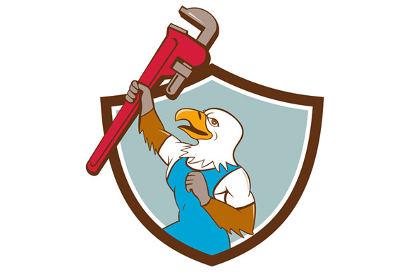 Eagle Plumber Raising Up Pipe Wrench Crest Cartoon example image 1