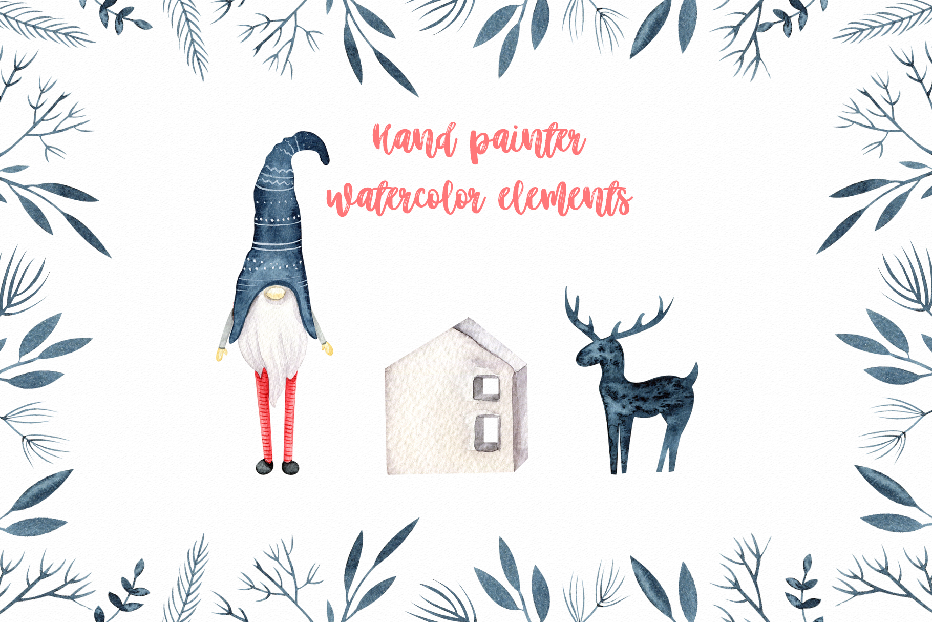 Winter Scandinavian Elfs, Nordic decor clipart watercolor example image 2