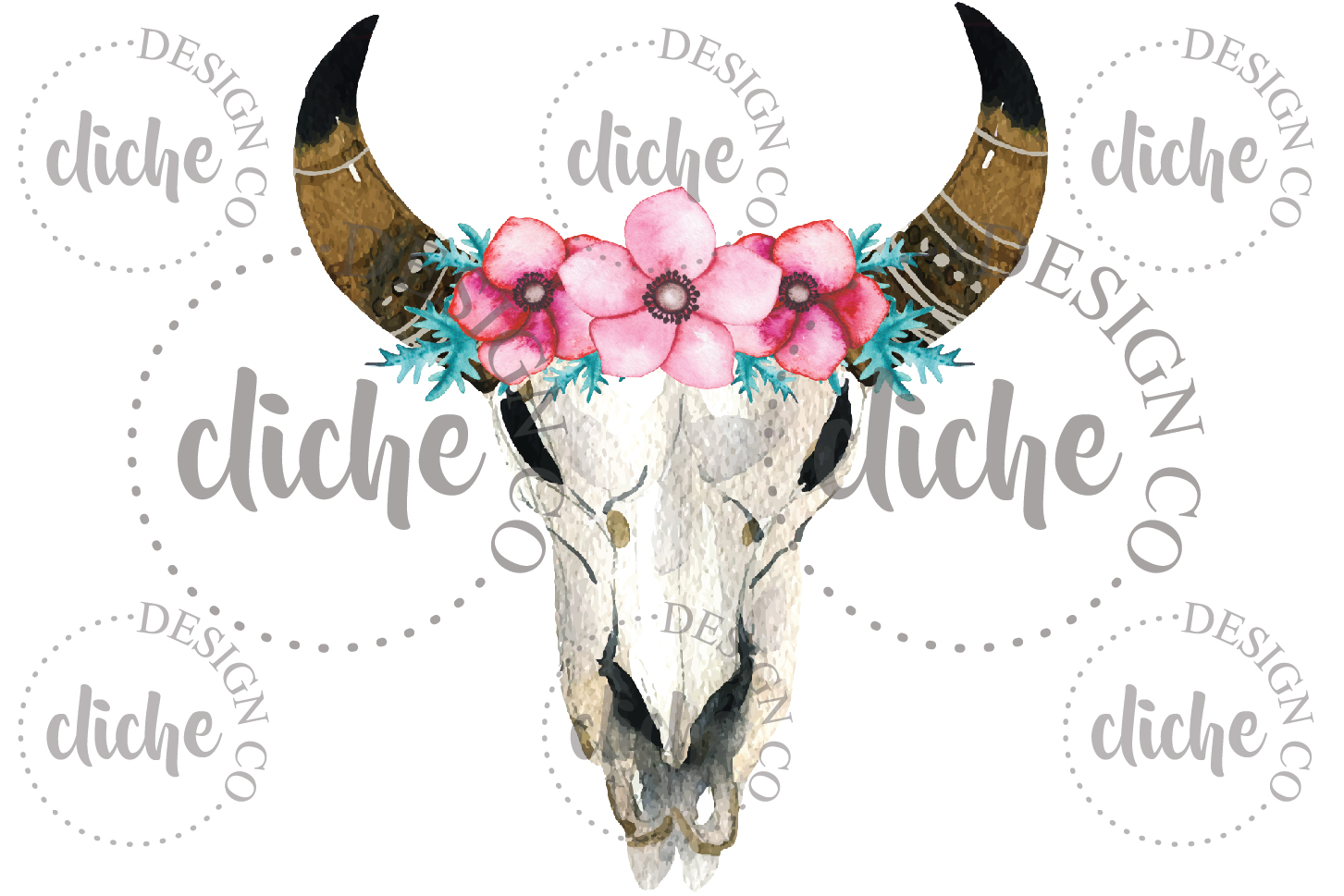 Rustic Floral Skull Sublimation Design example image 1