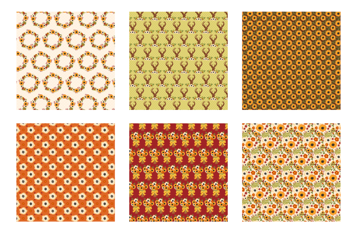 Autumn Woods Pattern collection, vector ai, example image 3