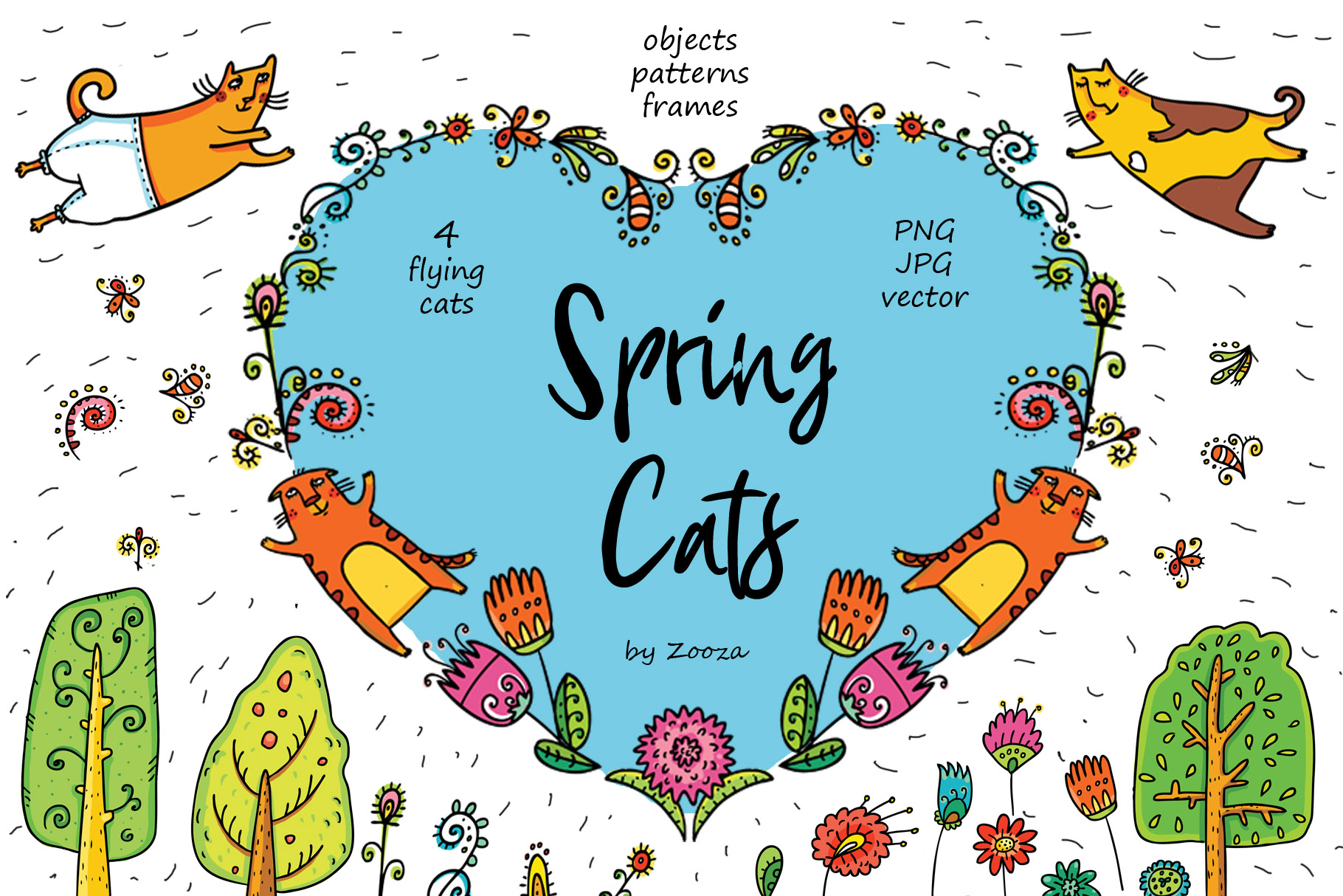 Spring Cats - 42 objects example image 1