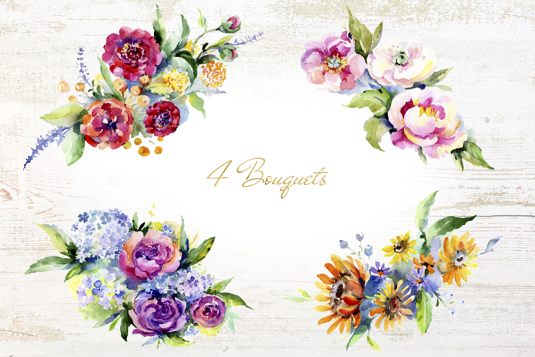 Bouquet of flowers between heaven and earth watercolor png example image 3