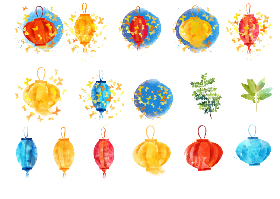 Watercolor lampion example image 2