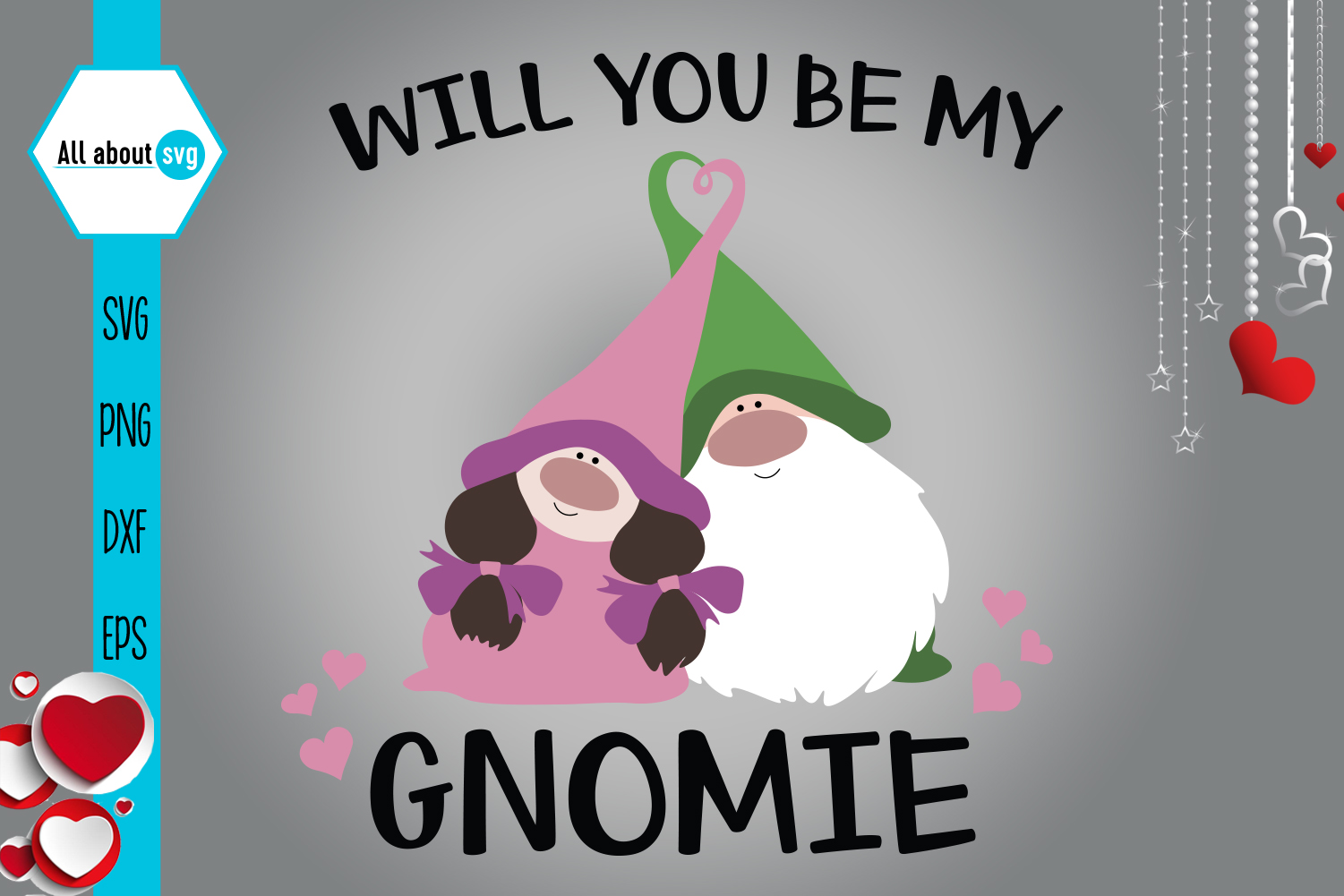 Will You Be My Gnomie Svg, Valentine's Gnomies Svg example image 2