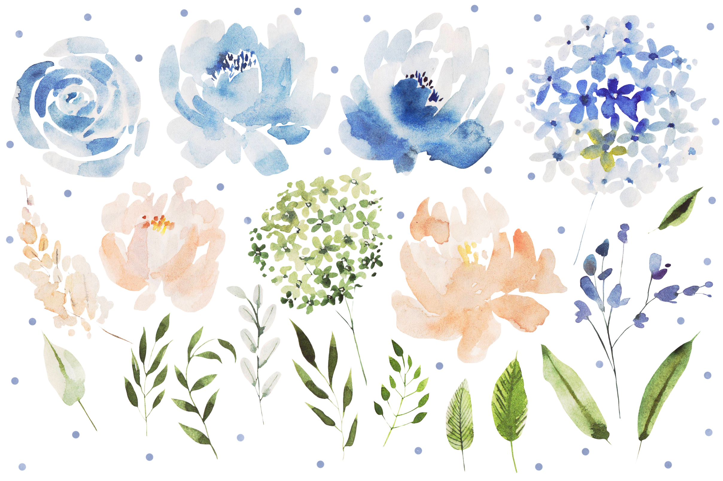 Watercolor BLUE FLOWERS example image 3