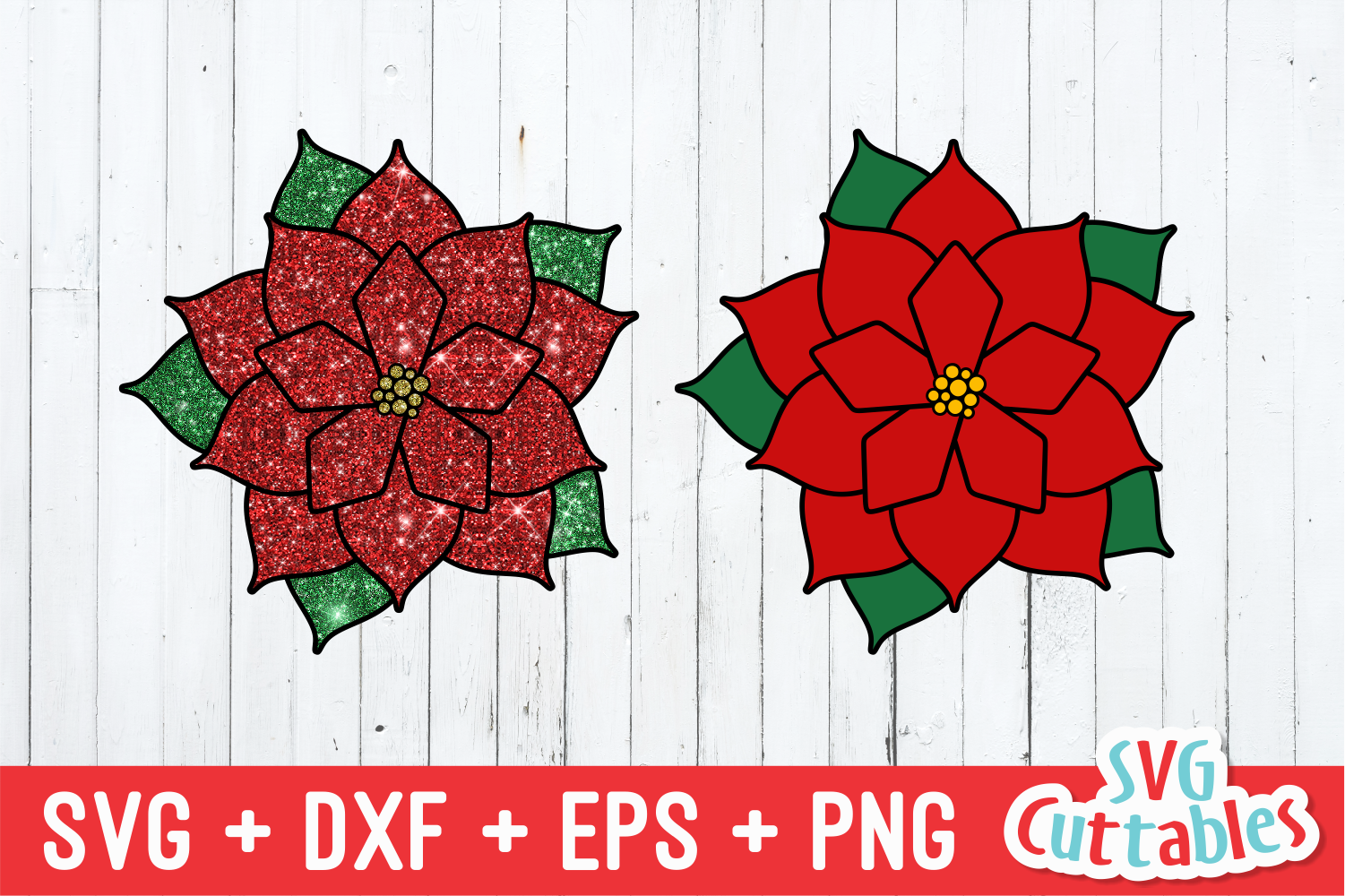 Merry Christmas Poinsettia | Christmas SVG Cut File example image 2