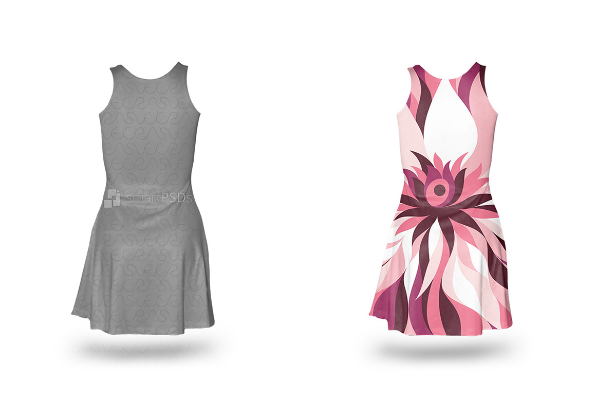 Feminine Sleeveless Dress Design Mockup of Sublimation Cloth Printing - 4 Views example image 4
