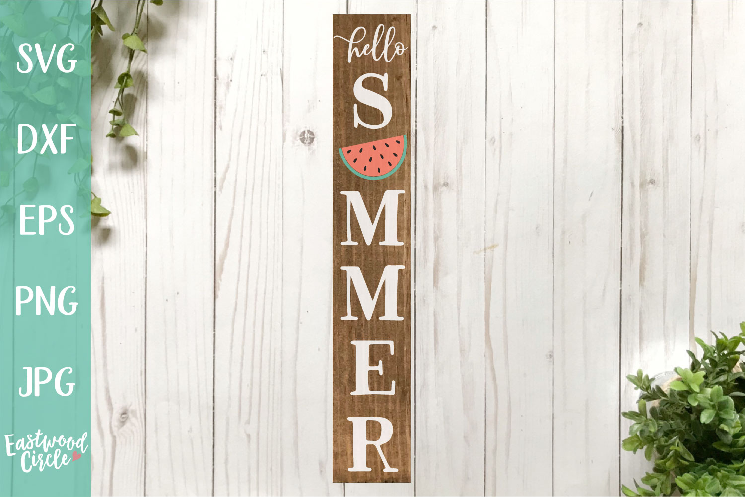 Hello Summer Vertical - A Summer SVG File for Signs example image 1