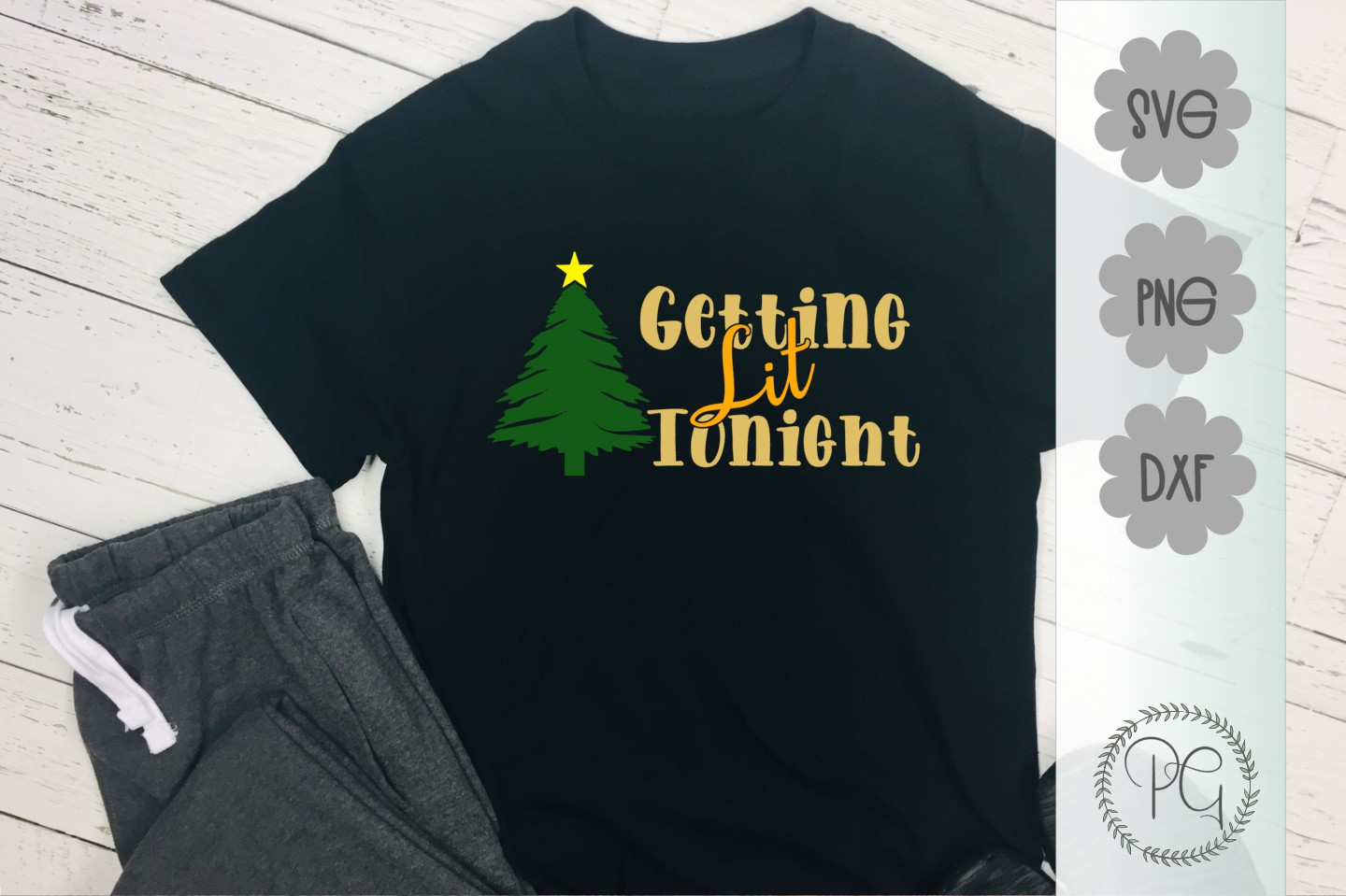 Getting Lit Tonight Christmas SVG PNG DXF example image 1