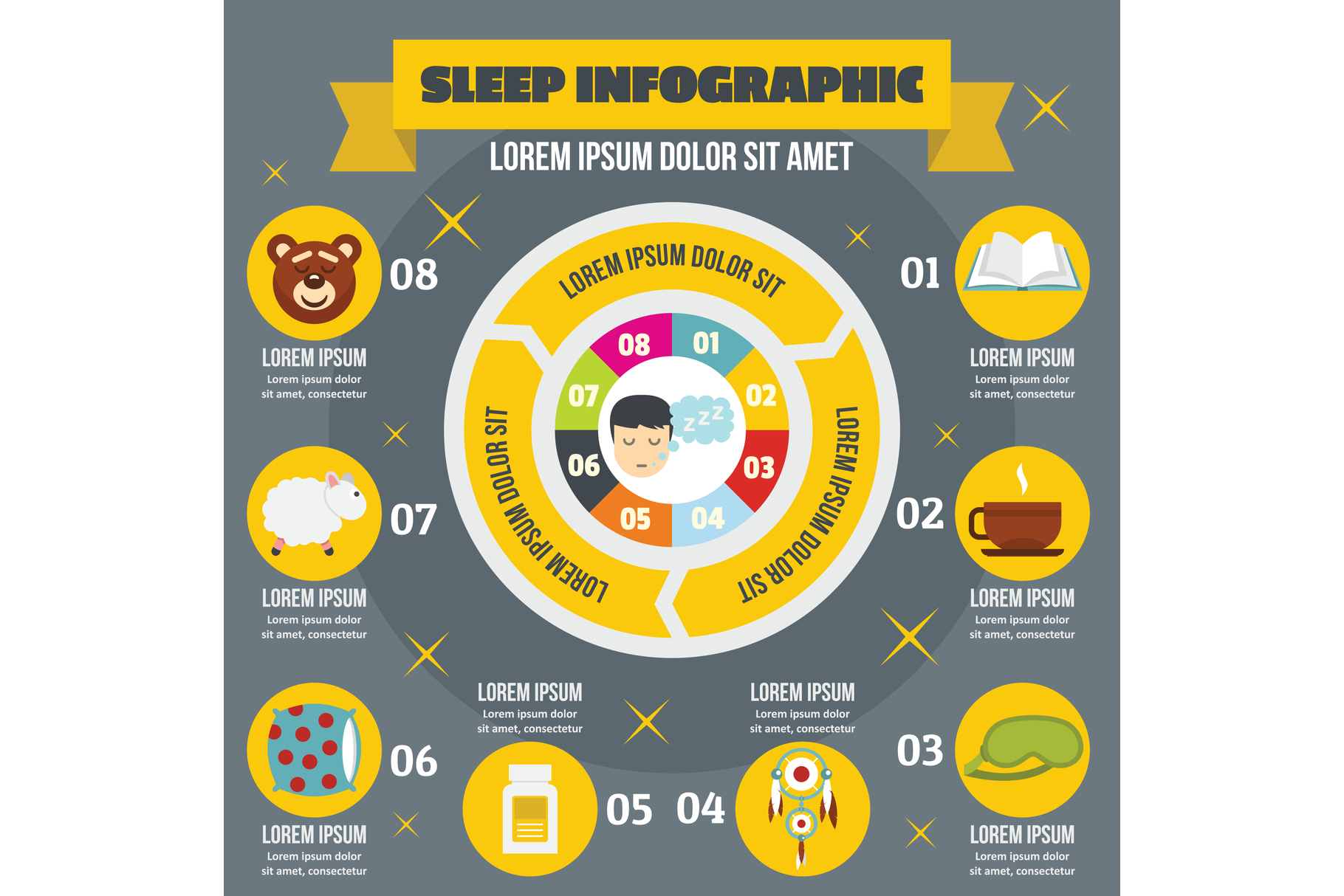 Sleep infographic concept, flat style example image 1