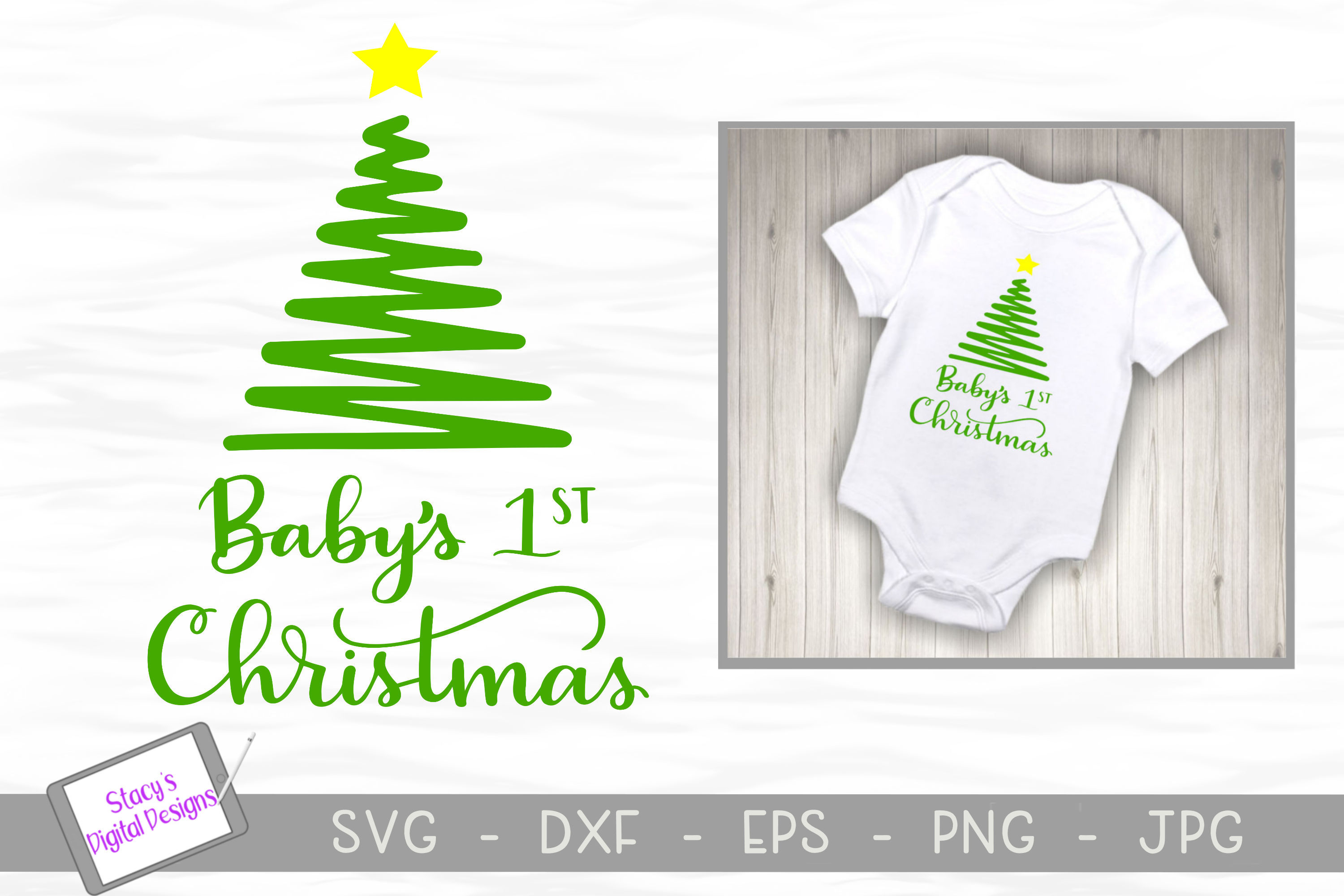 Christmas SVG - Baby's 1st Christmas SVG design with tree example image 1