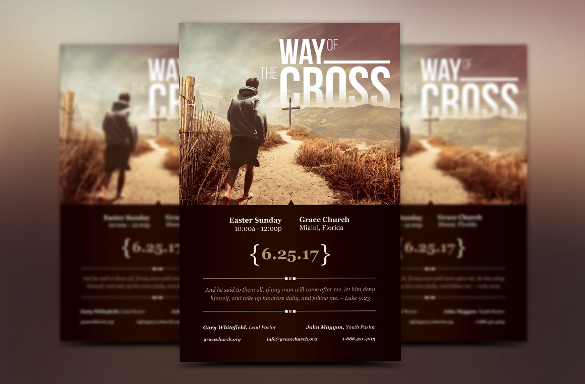 Cross Way Easter Flyer Poster example image 2