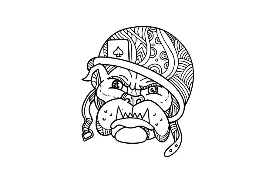 Soldier Bulldog Ace of Spade Mono Line example image 1