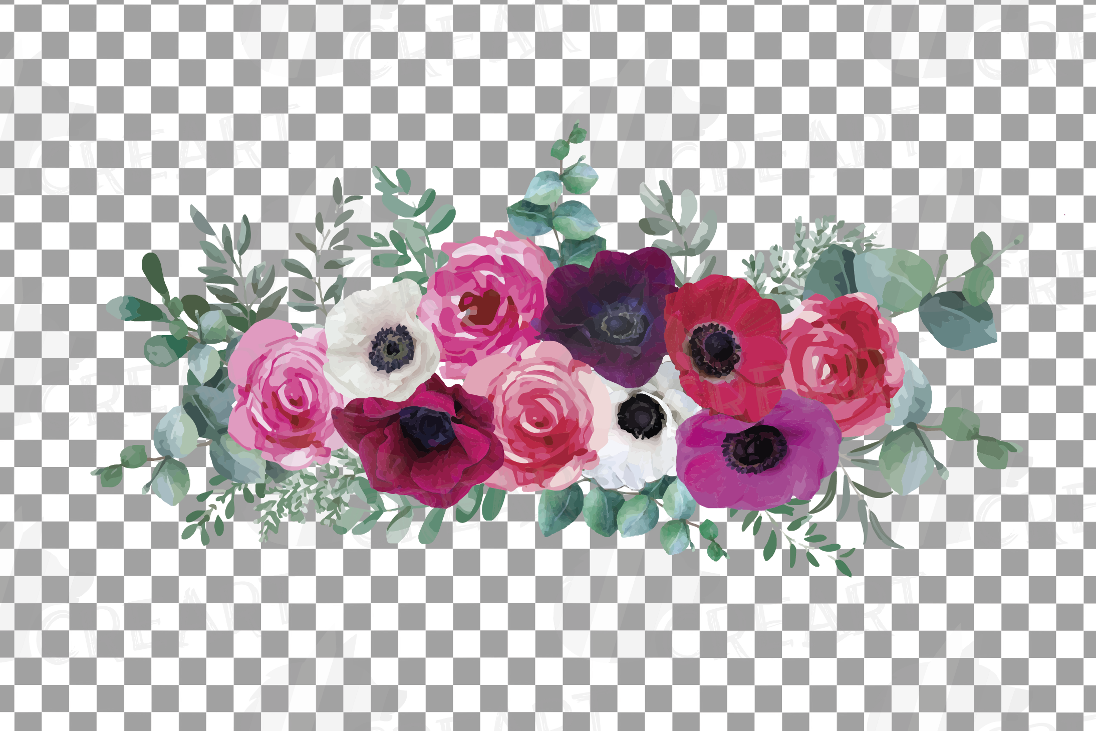 Watercolor elegant floral bouquets 2, rose, anemone decor example image 12