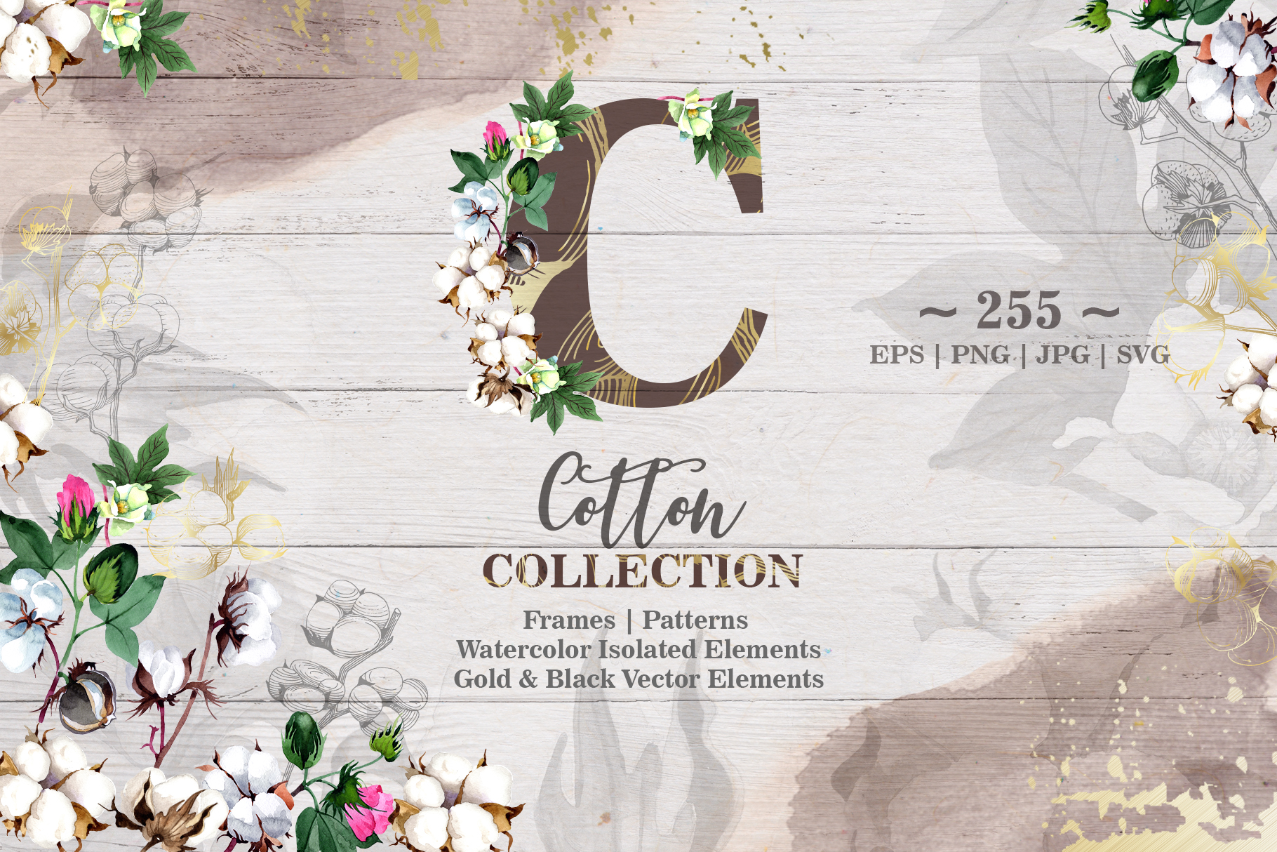Cotton collection EPS, PNG, JPG, SVG set example image 1