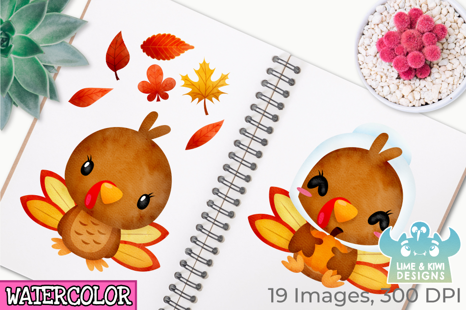 Thanksgiving Turkeys Watercolor Clipart, Instant Download example image 3