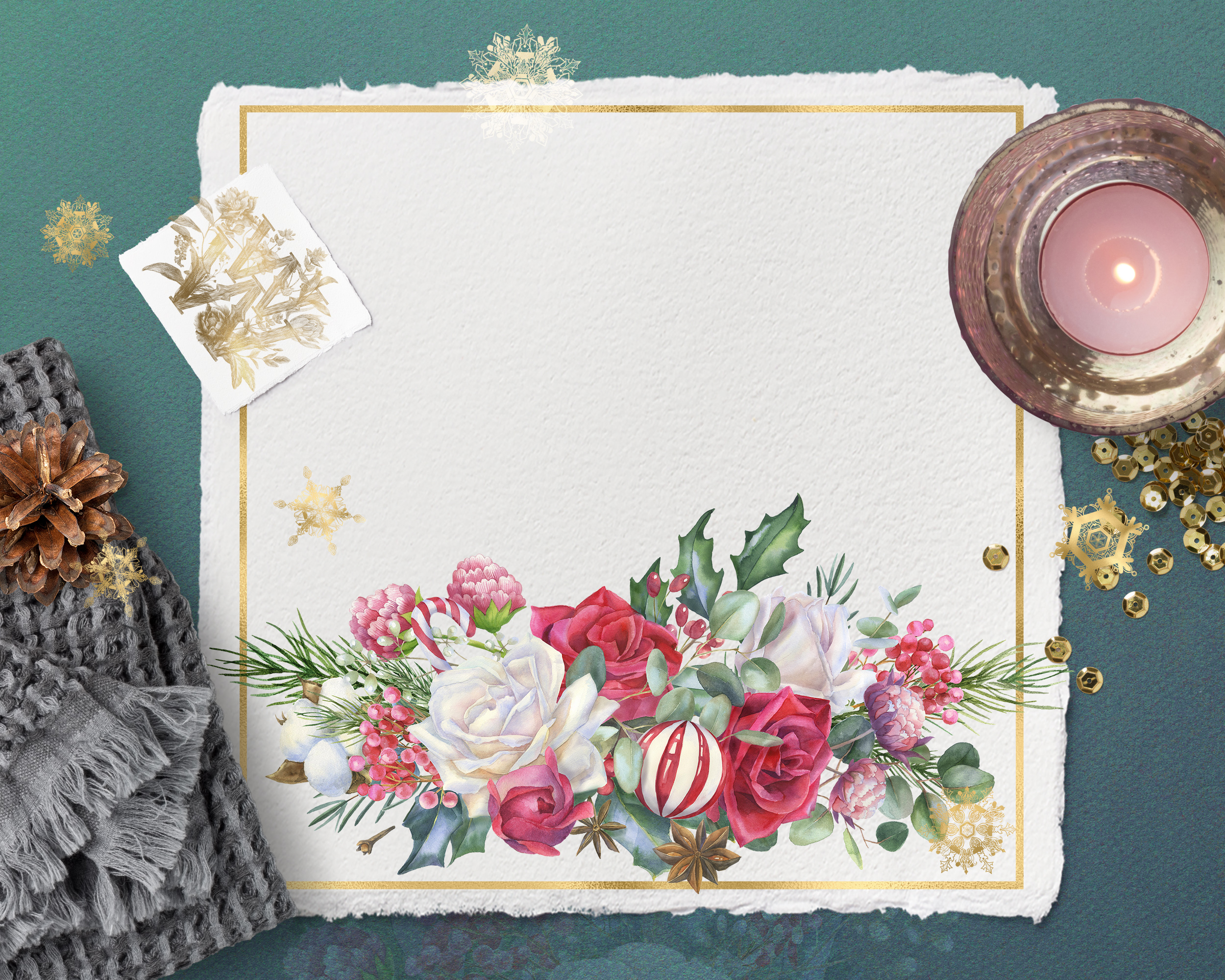 Christmas floral border clipart, Watercolor winter frame example image 7