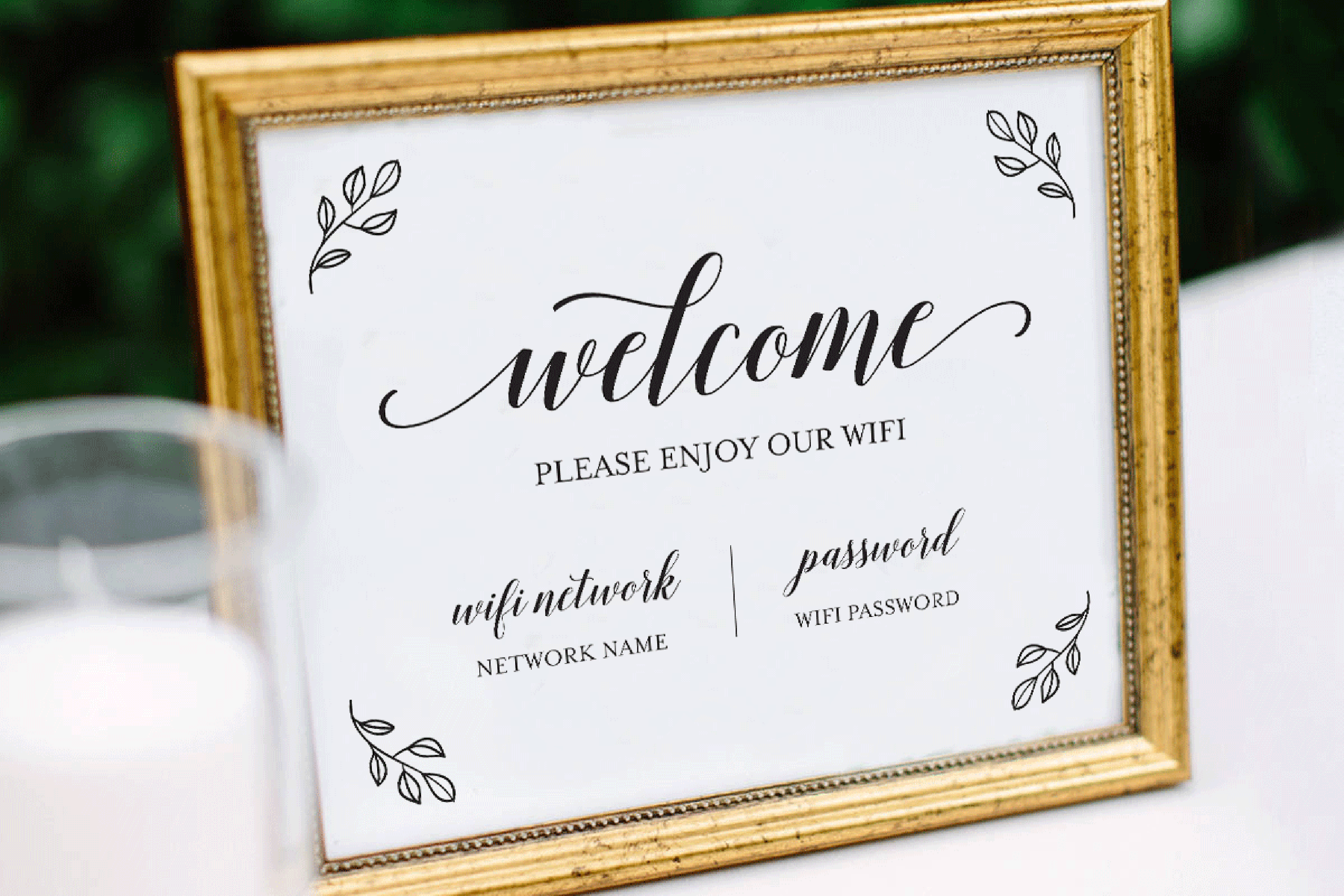 Wifi Password Printable, Wifi Sign Template, Welcome Guest example image 3