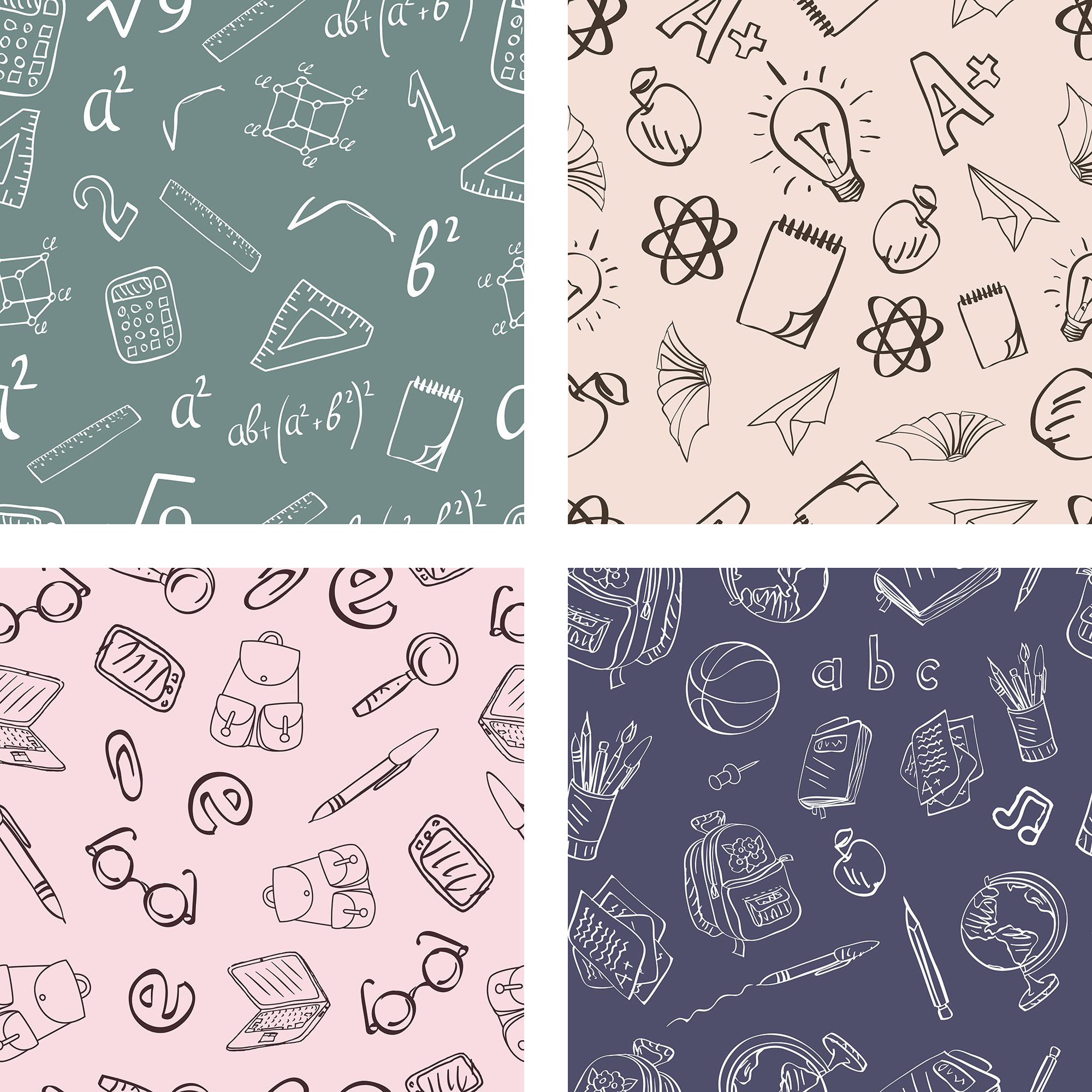 Back To School Seamless Patterns example image 4