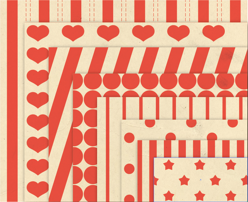 Vintage Background Patterns in Orange Digital Paper Pack with Stripes, Dots, Stars and Hearts example image 2