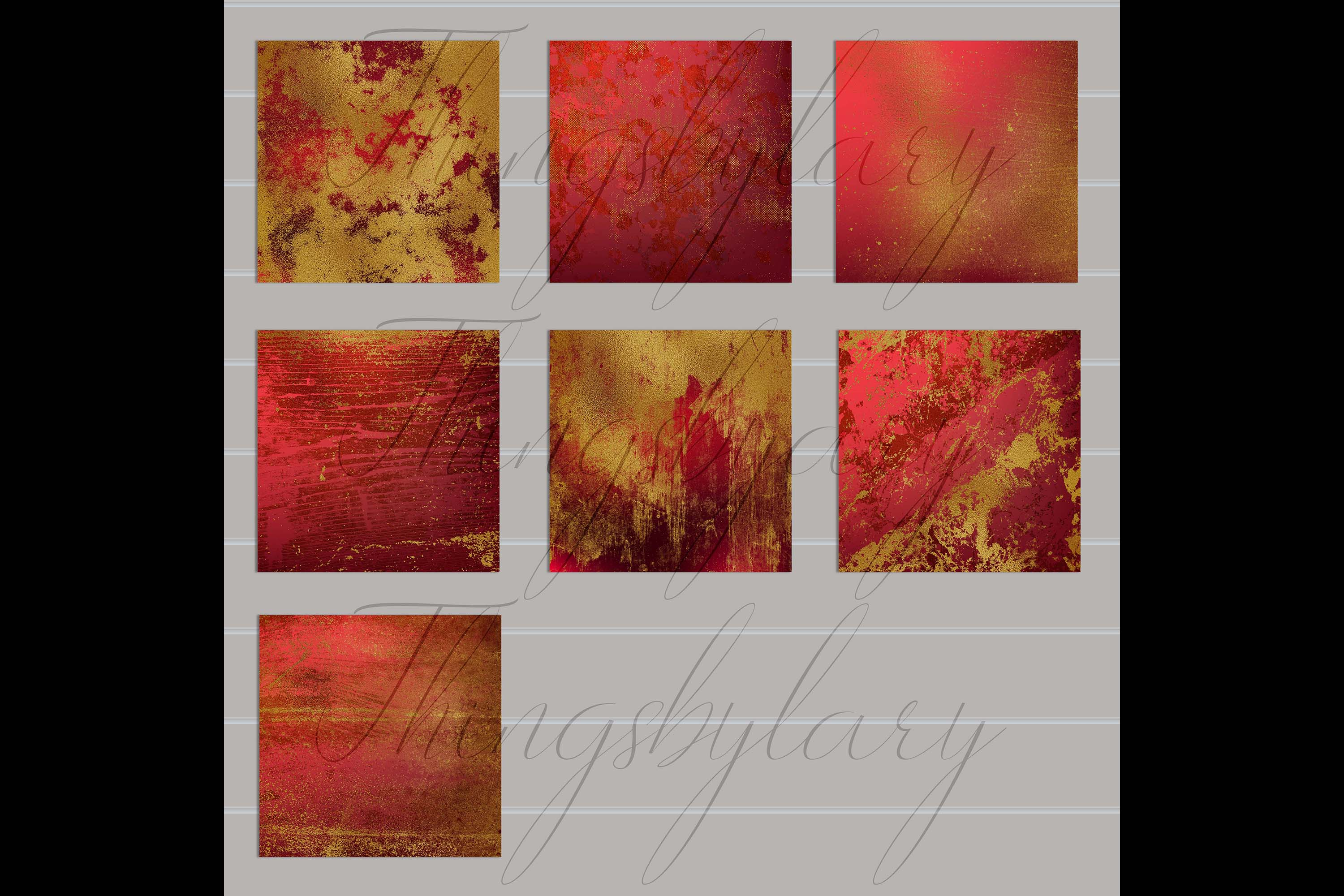 16 Distressed Red and Gold Artistic Painted Digital Papers example image 10