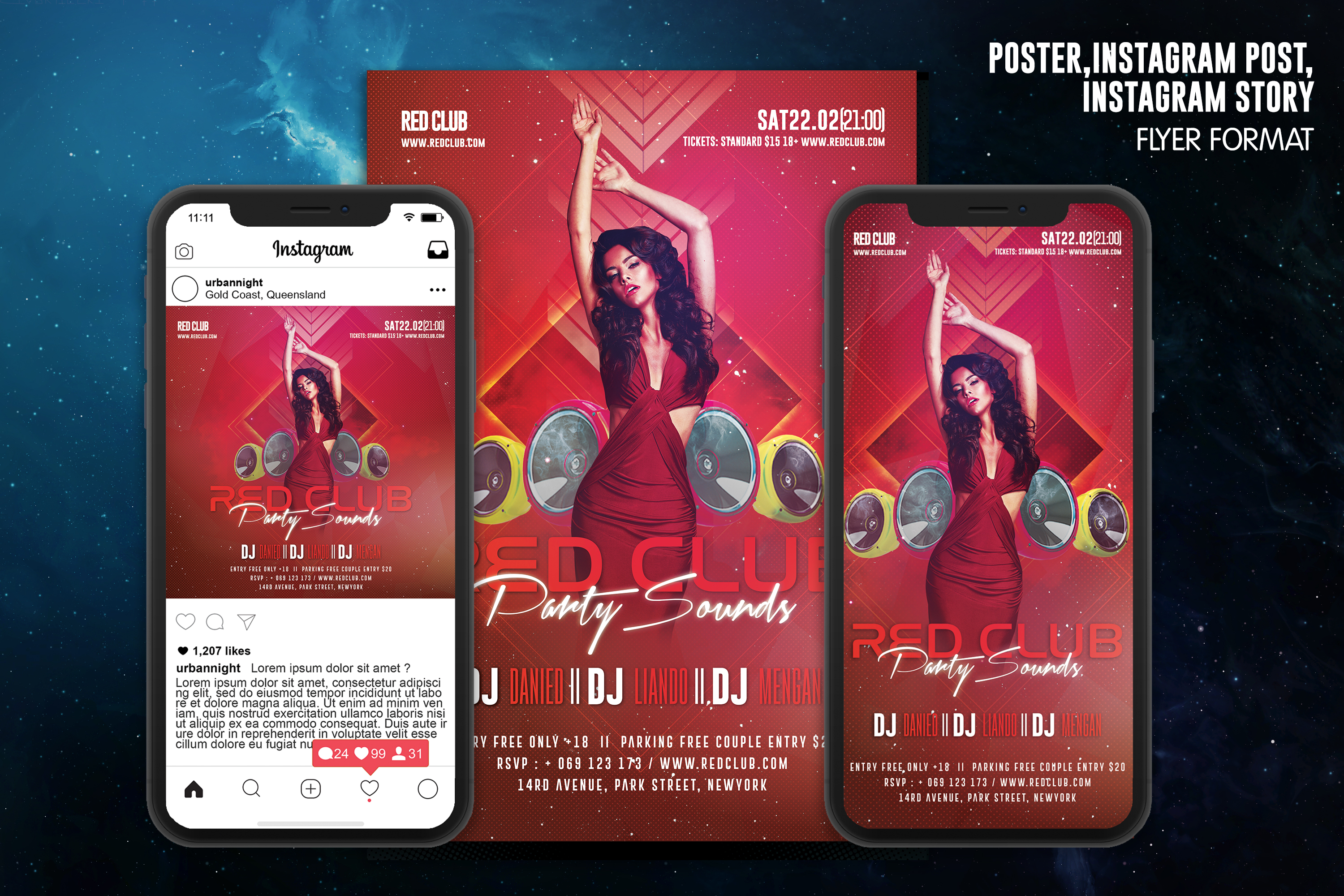 Red Club Party Sounds Flyer Template example image 1