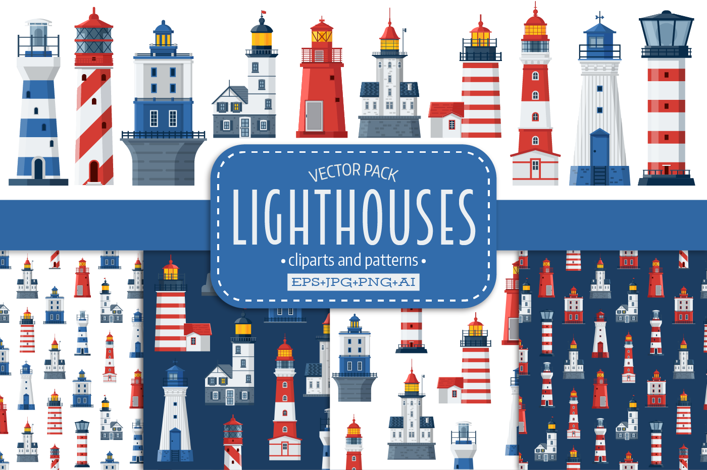 Lighthouse Icons and Patterns example image 1