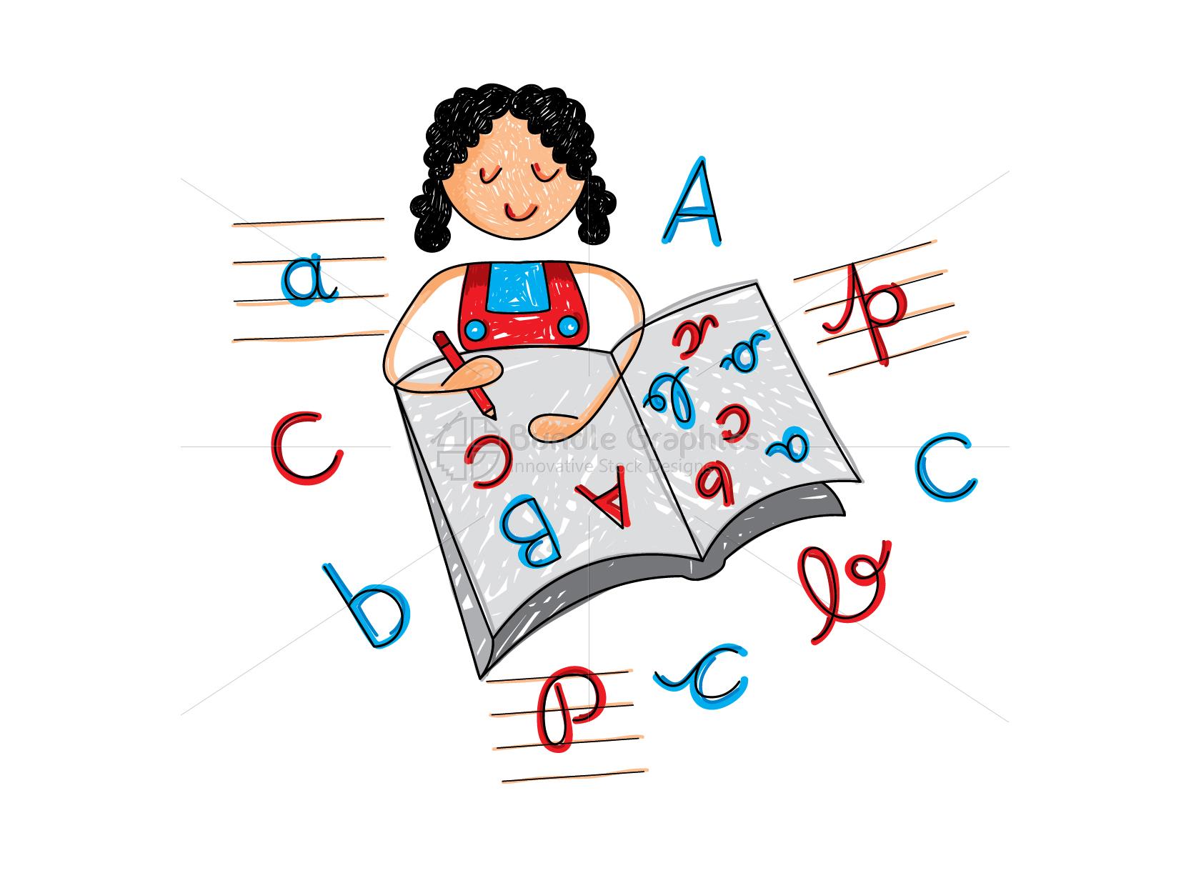 Kid Writing Alphabets Graphical Illustration example image 1