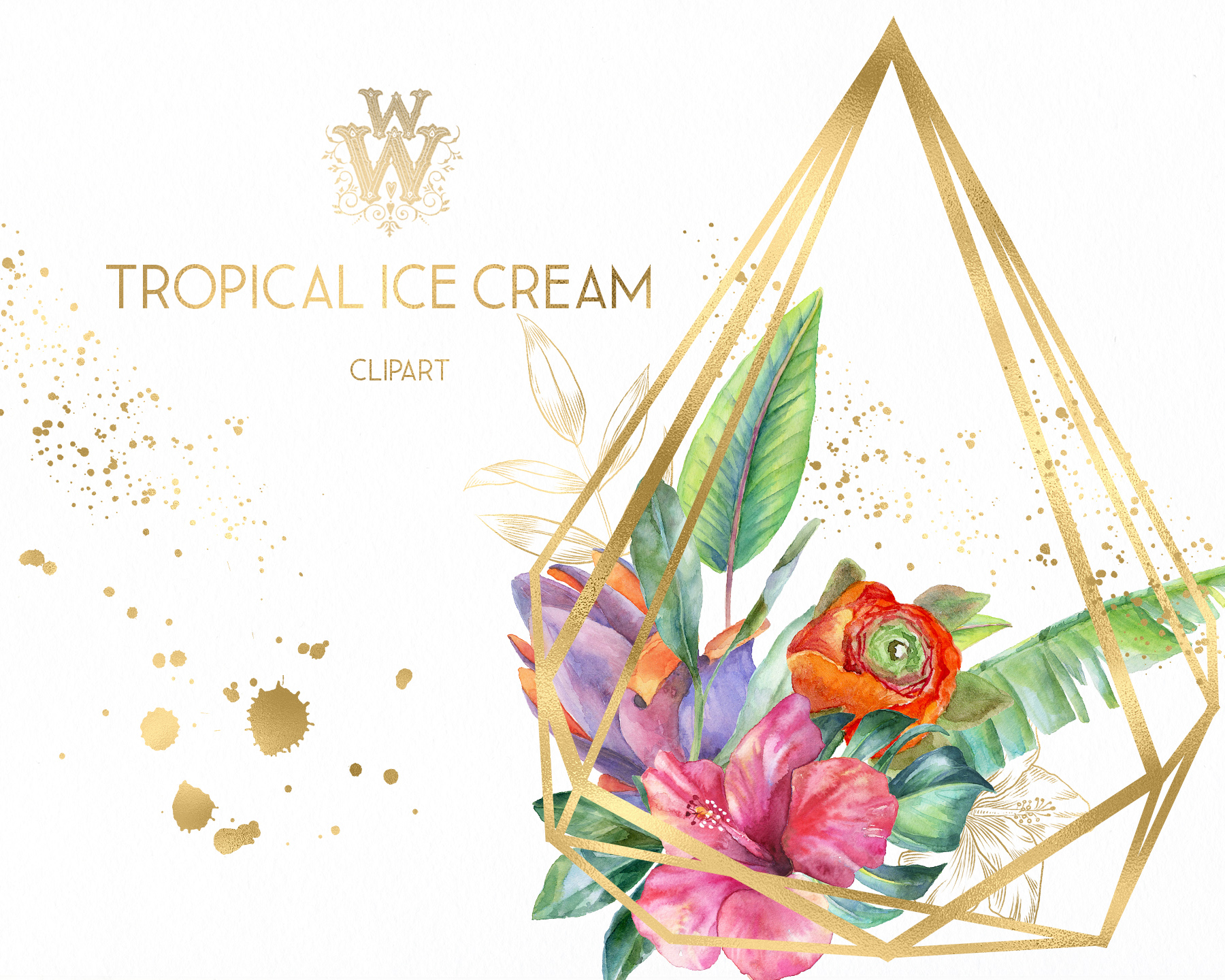 Watercolor summer tropical flower clipart, floral Ice Cream example image 5