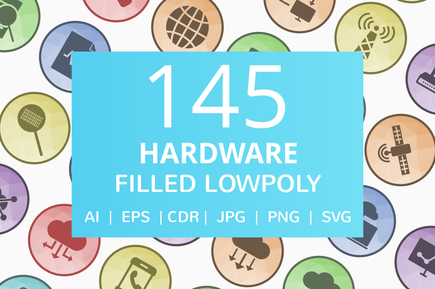 145 Hardware Filled Low Poly Icons example image 1