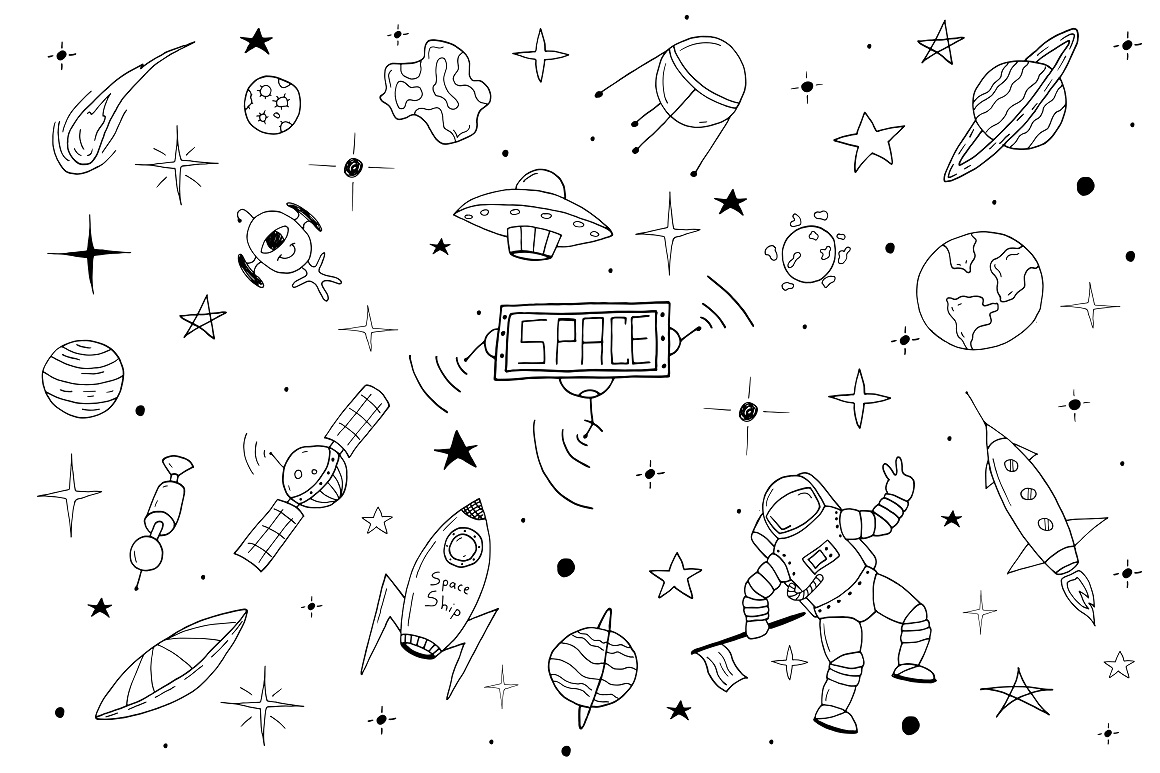 Space set in doodle style + patterns example image 2