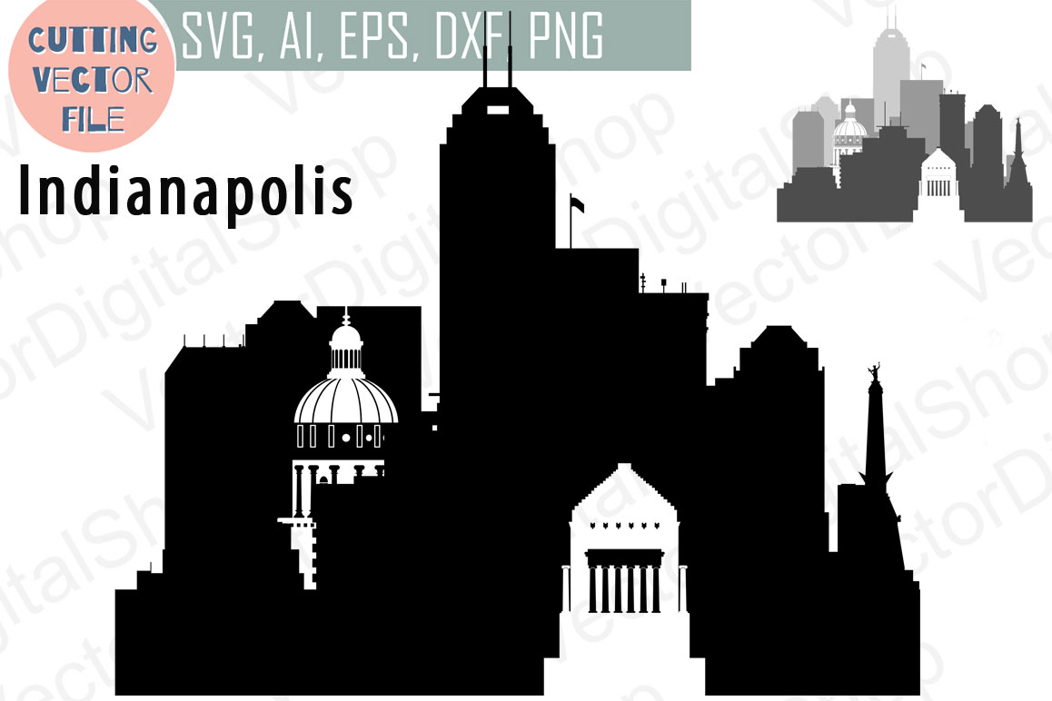 Indianapolis Vector,  Indiana Skyline USA city, SVG, JPG, PNG, DWG, CDR, EPS, AI example image 1