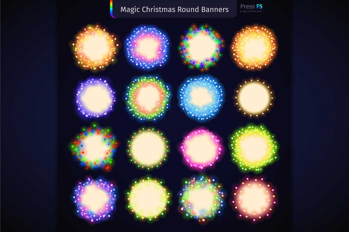 Magic Christmas Lights Vector Brushes Big Set example image 10