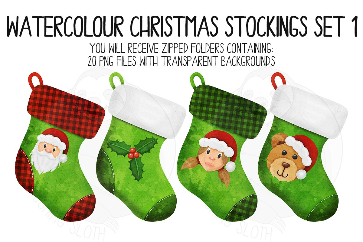 Watercolor Christmas Stocking Clipart example image 3