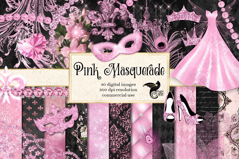 Pink Masquerade Digital Scrapbooking Kit example image 1