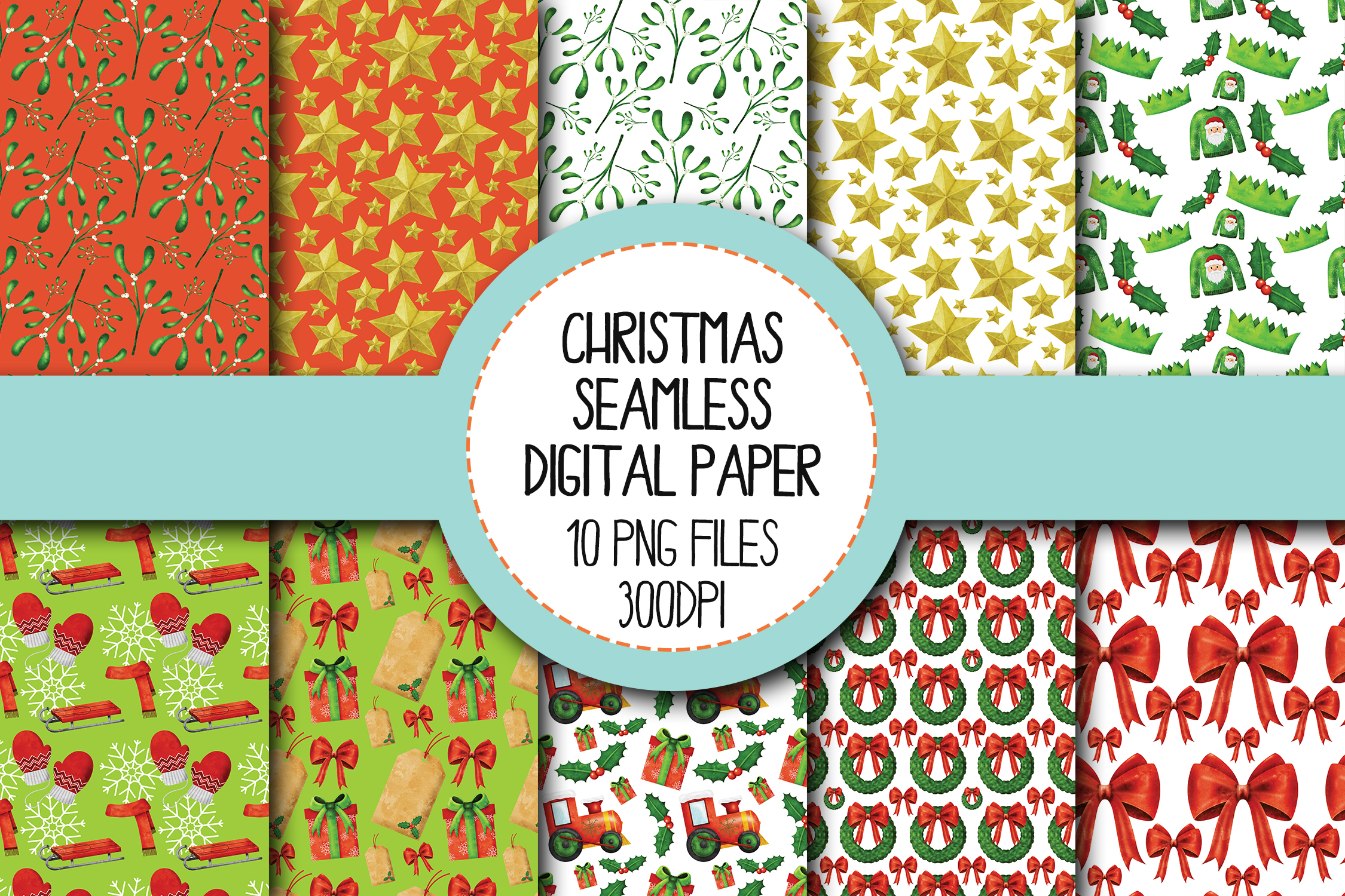 Watercolor Christmas Seamless Digital Papers Set 4 example image 1